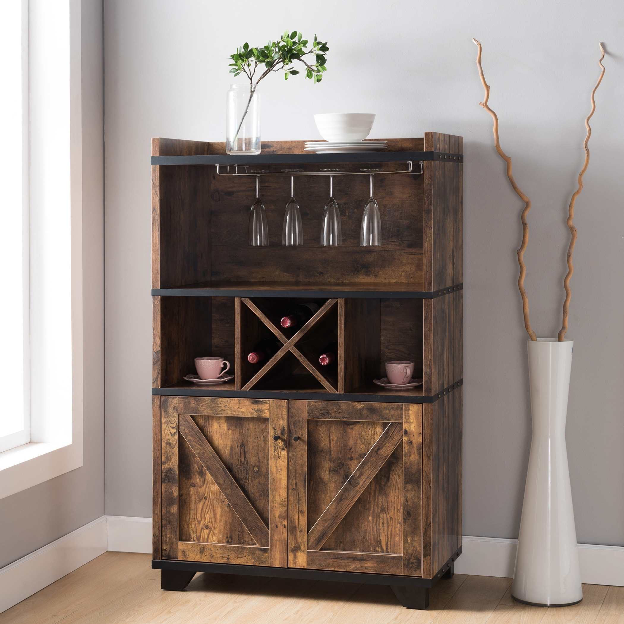 Furniture Of America Wesleyan Rustic Distressed Farmhouse Wine Cabinet  Buffet