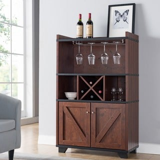 Furniture Of America Wesleyan Rustic Farmhouse Wine Cabinet Buffet