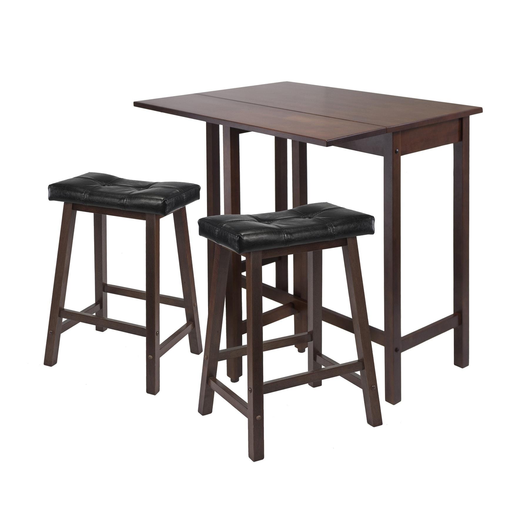 3Pc Lynnwood Drop Leaf Kitchen Table with 2 Cushion Saddle Seat Stools