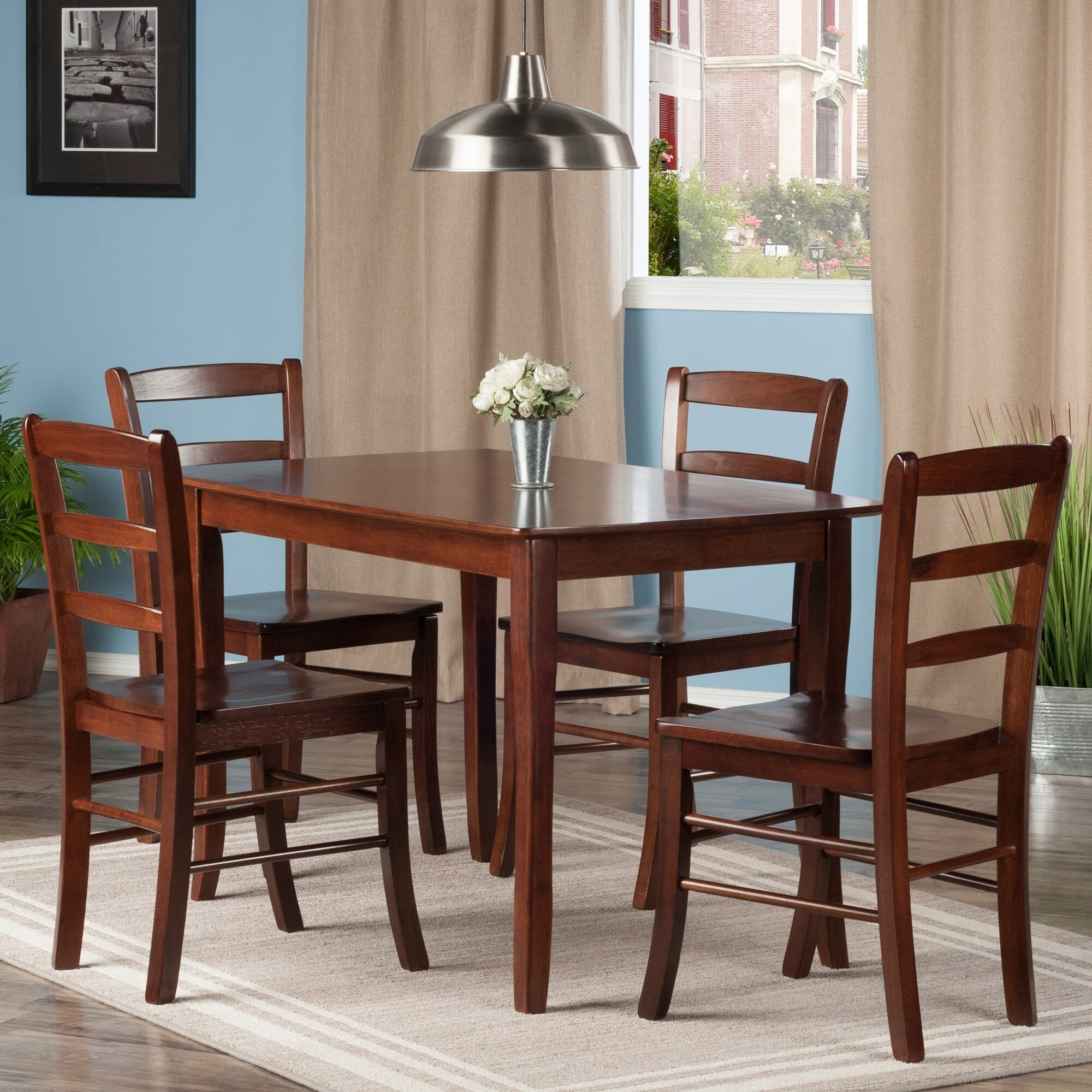 ae2825cdeada4 Shop Inglewood 5-PC Set Dining Table w/ 4 Ladderback Chairs - Free Shipping  Today - Overstock - 20735406