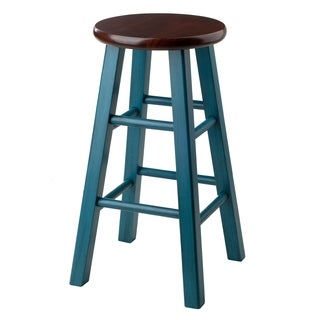 """Ivy 24"""" Counter Stool Rustic Teal w/ Walnut Seat"""