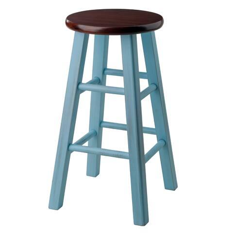 "Ivy 24"" Counter Stool Rustic Light Blue w/ Walnut Seat"