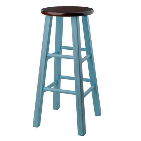"""Ivy 29"""" Bar Stool Rustic Light Blue w/ Walnut Seat"""