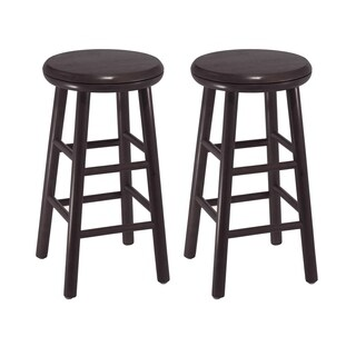 "Oakley 2-Pc 24"" Swivel Seat Bar Stool Set Dark Espresso"
