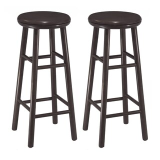 "Oakley 2-Pc 30"" Swivel Seat Bar Stool Set Dark Espresso"