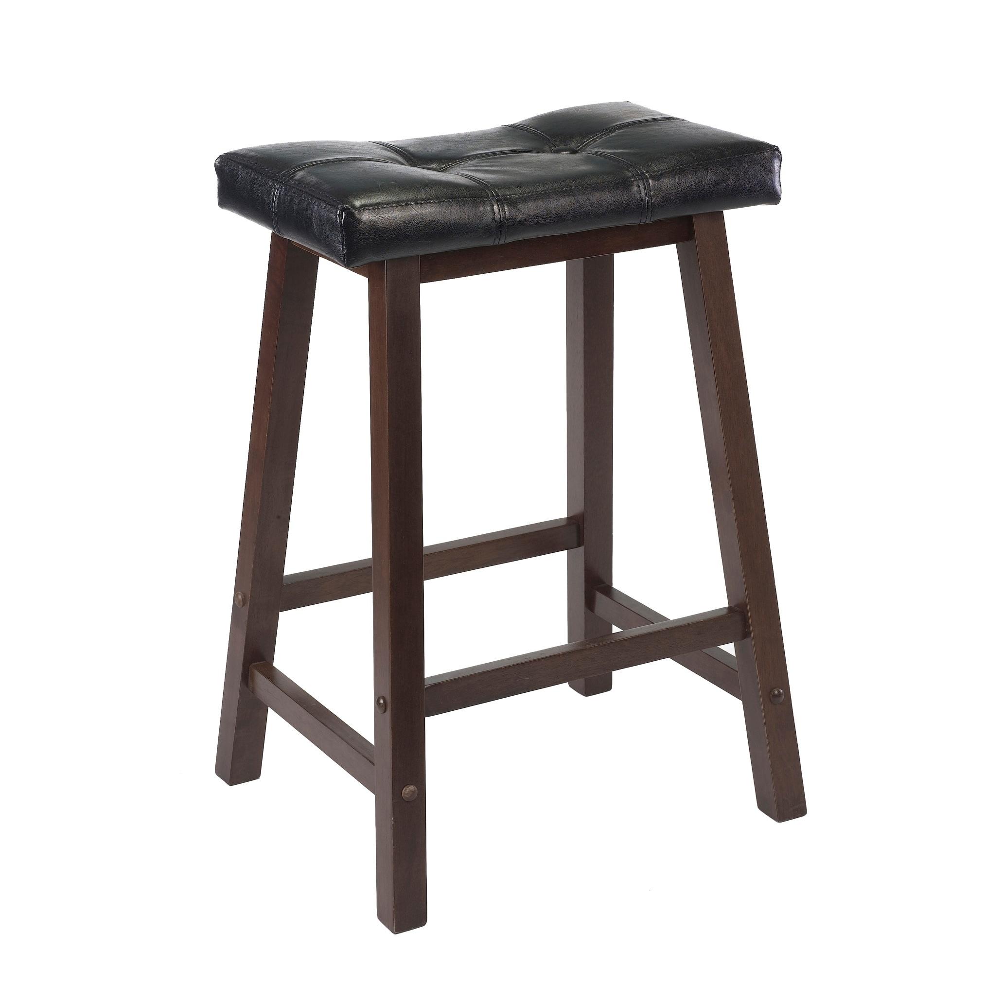 Mona 24 Cushion Saddle Seat Stool Black Faux Leather Wood Legs Rta