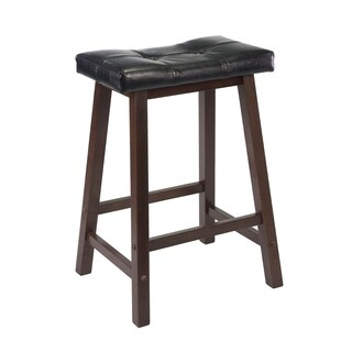 "Mona 24"" Cushion Saddle Seat Stool, Black Faux Leather, Wood Legs, RTA"