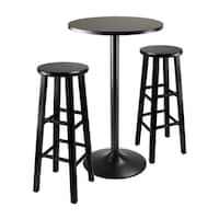 """3pc Round Black Pub Table with two 29"""" Wood Stool Square Legs"""