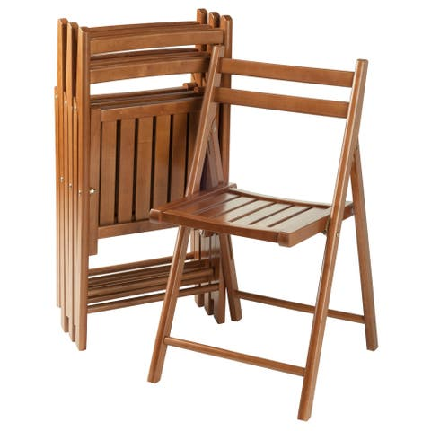 Robin Teak-finished Solid Wood Folding Chairs (Set of 4) - N/A