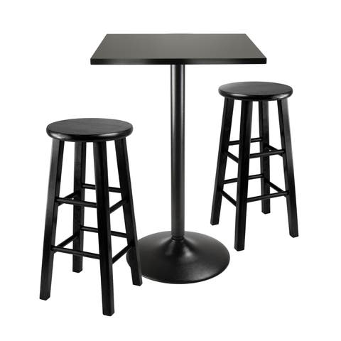 Obsidian 3pc Counter Height Square top with 2 Stools in Black.
