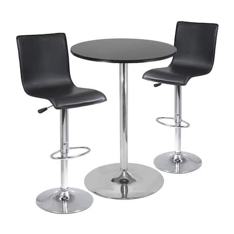 """Spectrum, 3pc Pub Table Set, 28"""" Round Table with 2 L-Shape Airlift Stools"""