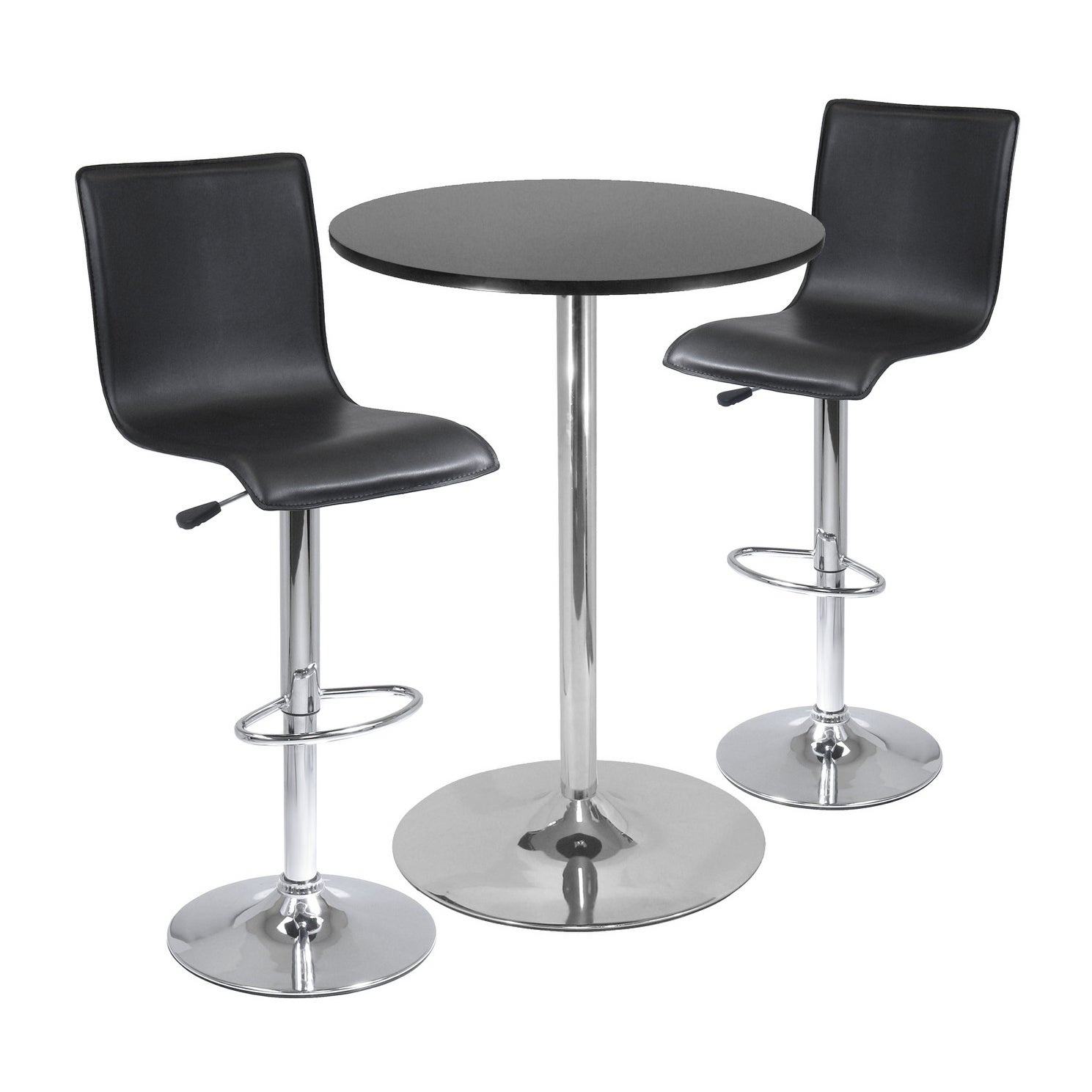 Shop Spectrum 3pc Pub Table Set 28 Round Table With 2 L Shape Airlift Stools Overstock 20735464