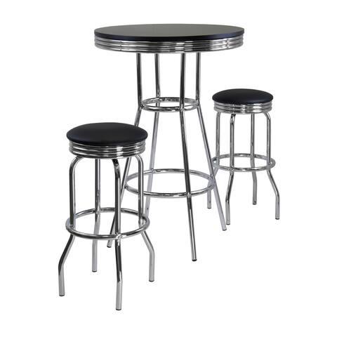 Summit 3pc Pub Table Set, includes 2 Swivel Stool