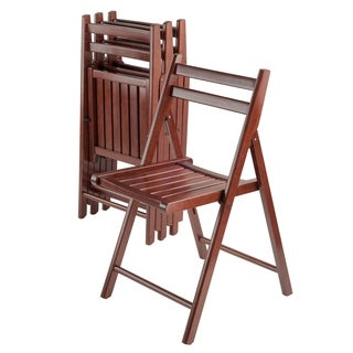 Robin 4 PC Folding Chair Set Walnut