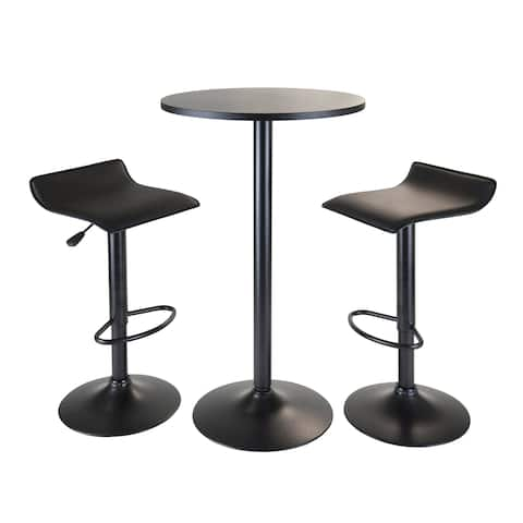 Obsidian 3pc Pub Set, Round Table with 2 Airlift Stools all Black