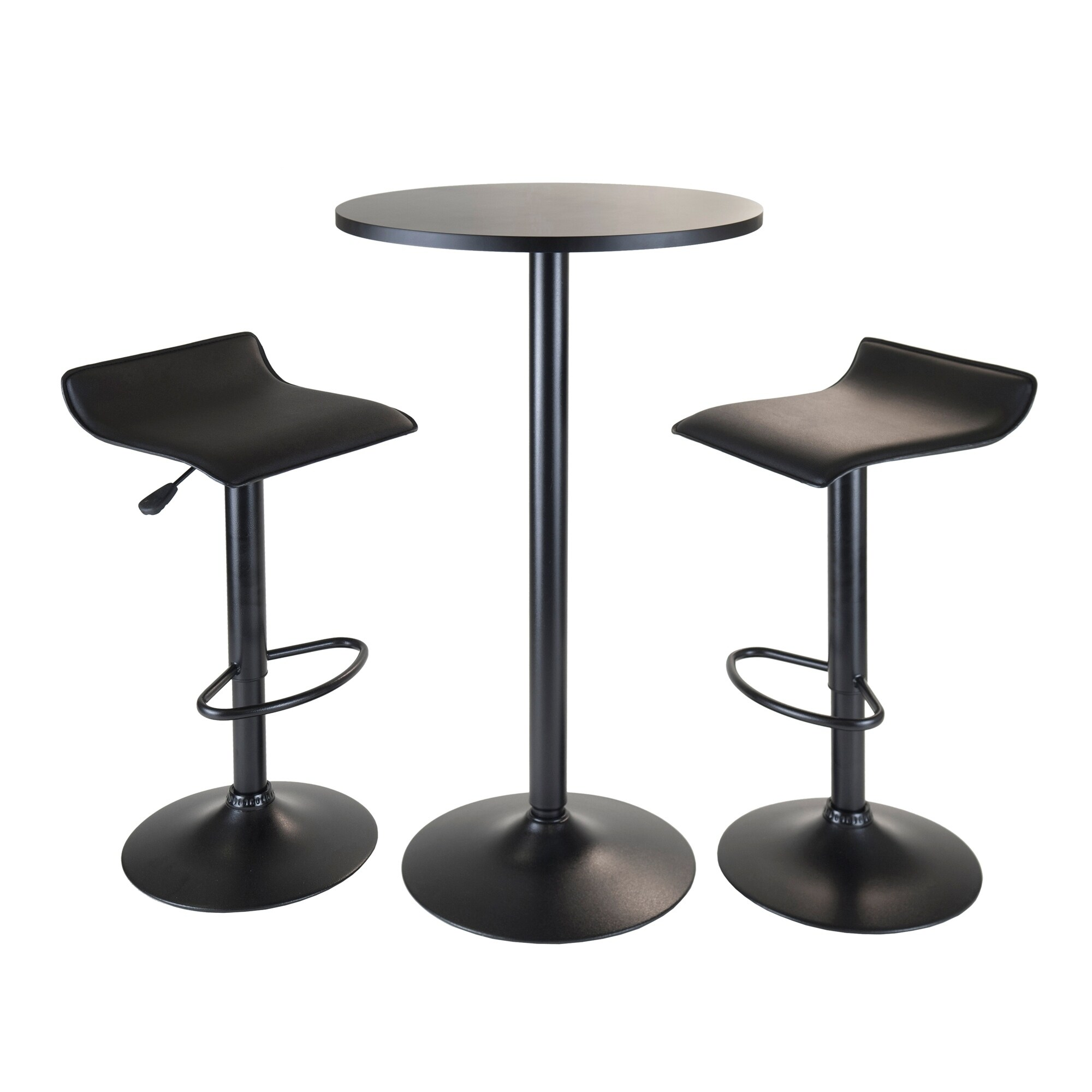 Surprising Obsidian 3Pc Pub Set Round Table With 2 Airlift Stools All Black Onthecornerstone Fun Painted Chair Ideas Images Onthecornerstoneorg