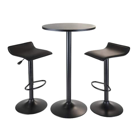 Obsidian 3pc Pub Set, Round Table with 2 Airlift Stools all Black - N/A