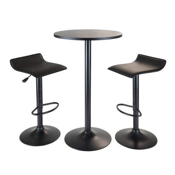 Obsidian 3pc Pub Set Round Table With 2 Airlift Stools All Black