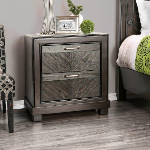 Furniture of America Moso Transitional Espresso Wood Nightstand