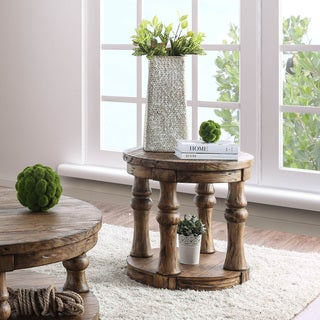 Furniture of America Bae Rustic Solid Wood Round End Table