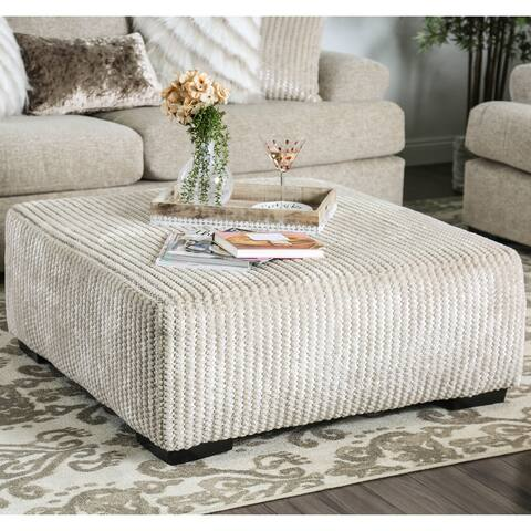 Furniture of America Lorz Contemporary Beige Fabric Cocktail Ottoman