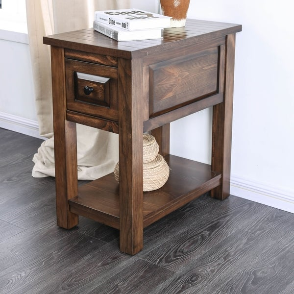 Furniture of America Agri Rustic Walnut Solid Wood 1-drawer Side Table