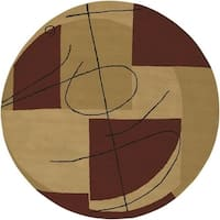 Porch & Den Whipple Handmade Beige New Zealand Wool Abstract Area Rug - 5'9 Round