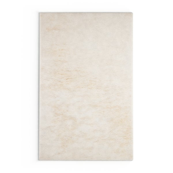The Curated Nomad Baden Hand-woven White Citrus New Zealand Wool Soft Shag Area Rug - 5' x 8'