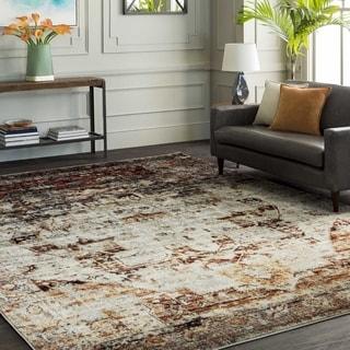 """The Curated Nomad Peoria Faded Vintage Grey Medallion Area Rug - 3'11"""" x 5'7"""""""