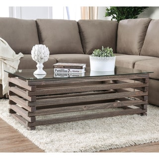 Furniture of America Lown Contemporary Grey Solid Wood Coffee Table