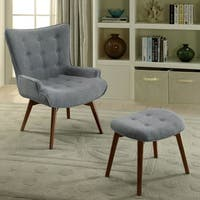 Furniture of America Olla Midcentury Modern 2-piece Grey Chair and Ottoman Set