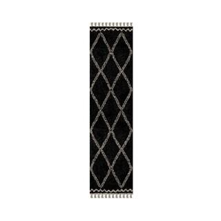 "Carbon Loft Nilsson Moroccan Black Trellis Fringe Rug - 1'11"" x 7'6"""