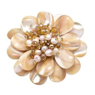 Handmade Elegant Blooming Brown and Beige Shell, Pearl & Crystal Flower Brooch Pin (Thailand)