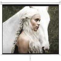 "HD 120"" Projector Screen Home Office Projection Screen with Auto Lock Movie Theater Meeting,Matte White"