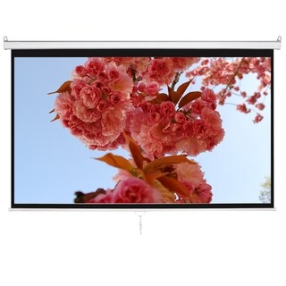 "100"" 16:9 HD Manual Projector Screen with Auto Lock Home Theater Office Wall Mounted Ceiling Pull Down Projection"