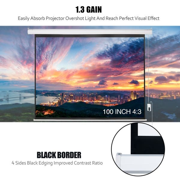White BCP 100in HD 4:3 Display Electric Projection Screen w// Remote