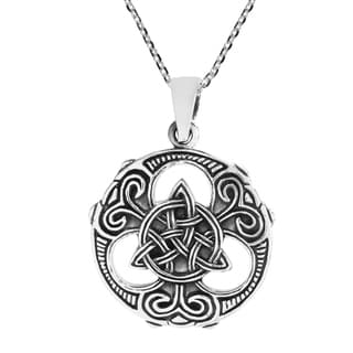 Handmade Intricately Stylized Trinity Knot Or Triquetra Sterling Silver Necklace Thailand