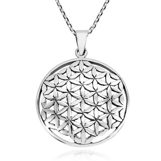 Handmade Geometrical Flower Of Life Connected Circles Sterling Silver Necklace Thailand