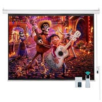 "120"" 4:3 HD Electric Projector Screen Remote Control Home Theater Projection Screen,Matte White"