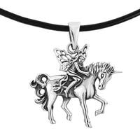 Handmade Mythical Fairy Riding Unicorn Sterling Silver Black Necklace (Thailand)