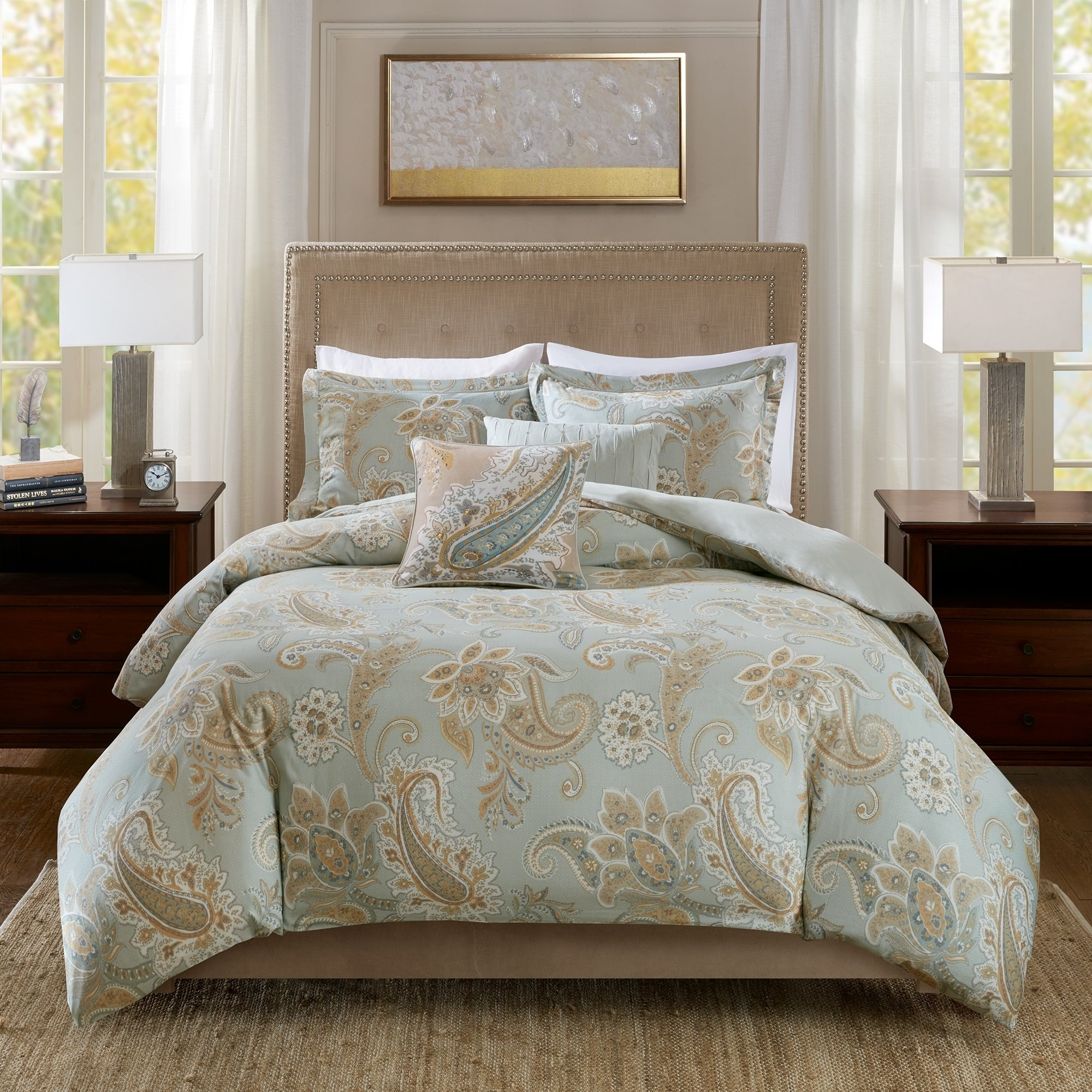 Harbor House Sienna Cotton Printed 5 Piece Duvet Cover Set Multi King//Cal King