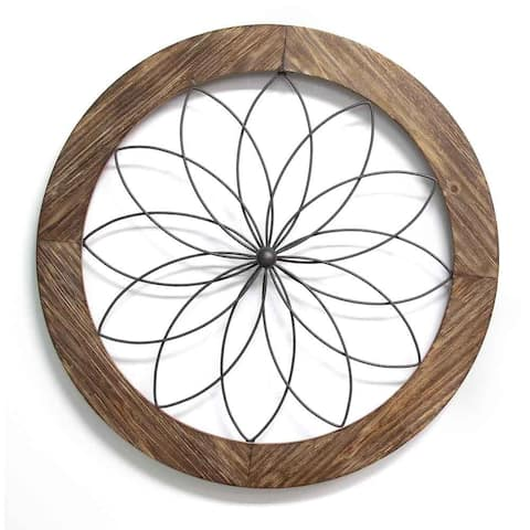 Stratton Home Decor Round Wood and Metal Medallion Wall Decor - Black/Brown