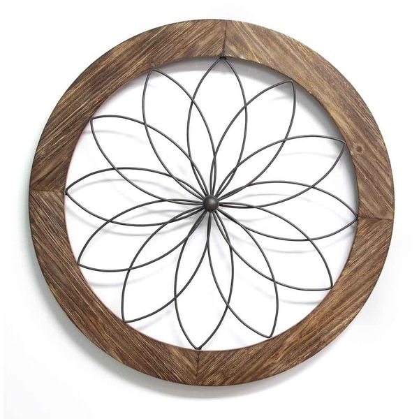 Shop Stratton Home Decor Round Wood And Metal Medallion Wall Decor