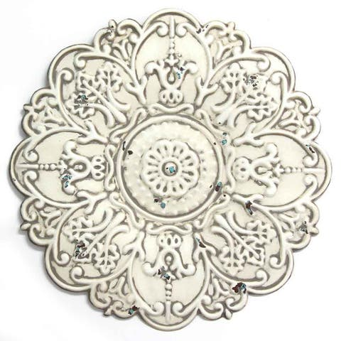 Stratton Home Decor Small White Medallion Wall Decor