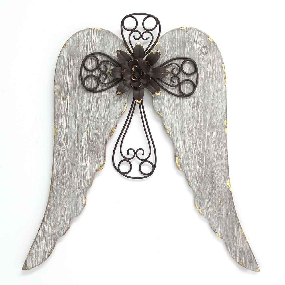 Stratton Home Decor Angel Wings With Cross Wall