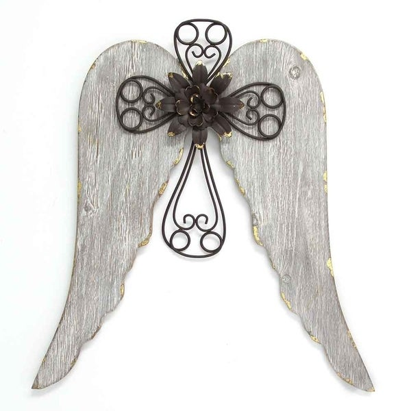 Stratton Home Decor Angel Wings With Cross Wall Brown Gold White