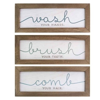 Link to Stratton Home Decor Set of 3 Wash, Brush, Comb Bath Art Similar Items in Wood Wall Art