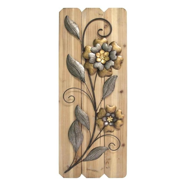Stratton Home Decor Antique Metal Flower Wood Plank Panel Gold Multi Color