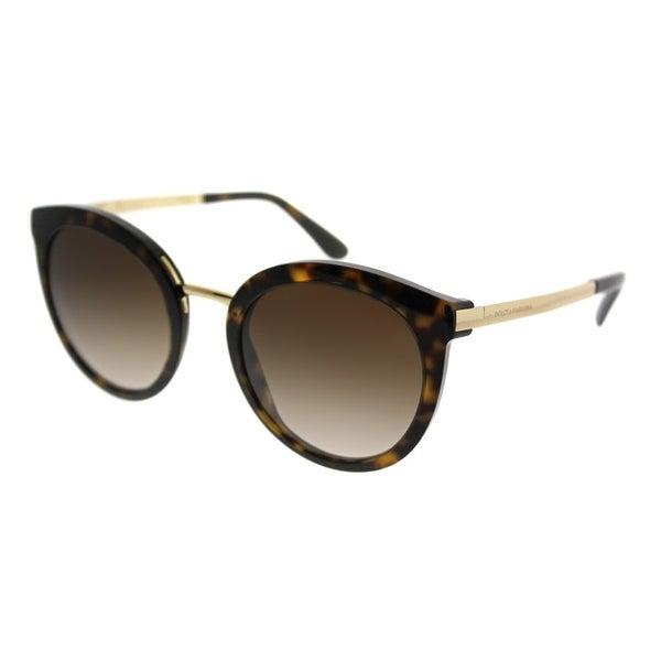 c8761d614440 Dolce  amp  Gabbana Round DG 4268 502 13 Women Havana Gold Frame Brown  Gradient