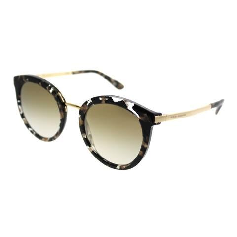Dolce & Gabbana Round DG 4268 911/6E Women Cube Black Gold Frame Gold Mirror Lens Sunglasses